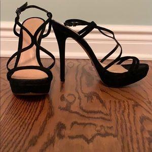 Schutz black strapy heels
